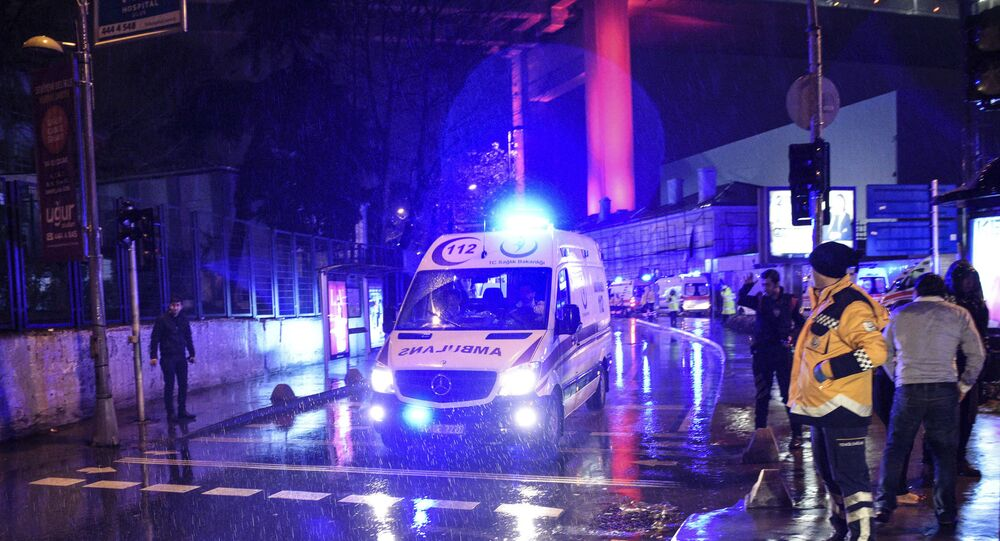 Ambulances rushing away from the scene of an attack in Istanbul, early Sunday, Jan. 1, 2017.
