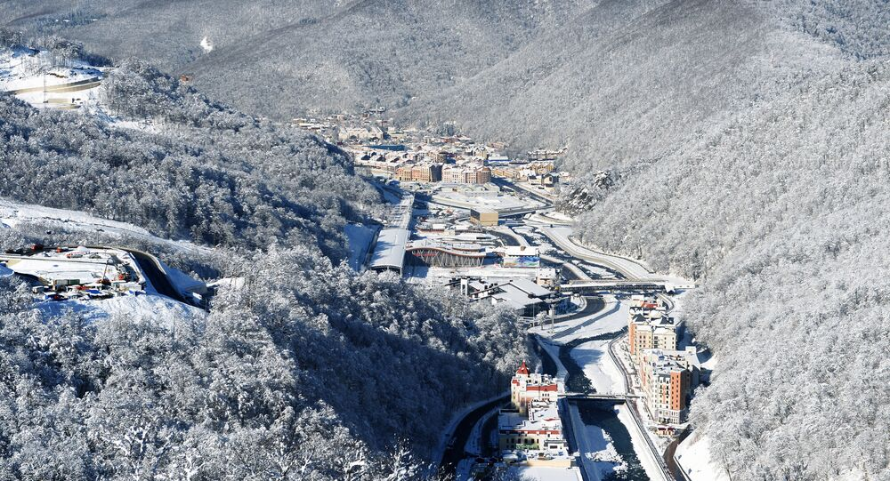 A view of the Rosa Khutor Alpine Resort and Krasnaya Polyana railway station in Adler District, Sochi. (File)