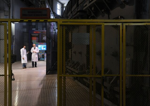 Accelerator hall at the high-energy physics laboratory of the Joint Institute for Nuclear Research in Dubna