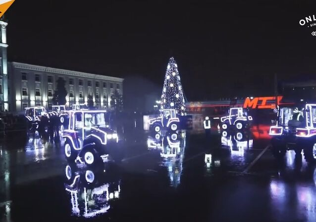 Tractor Plant Puts A Show On A Square in Minsk, Belarus