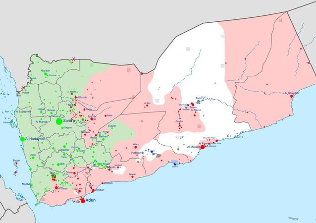 Insurgency in Yemen according to published reports. Green indicates areas controlled by the Houthis, Red by the Hadi government and allies, White by al-Qaeda in the Arabian Peninsula, and Black by Daesh.