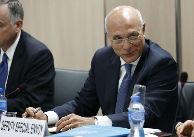 Ramzy Ezzeldin Ramzy, Deputy Special Envoy for Syria attends a meeting with the Syrian government delegation during Syria peace talks at the United Nations on April 20, 2016 in Geneva