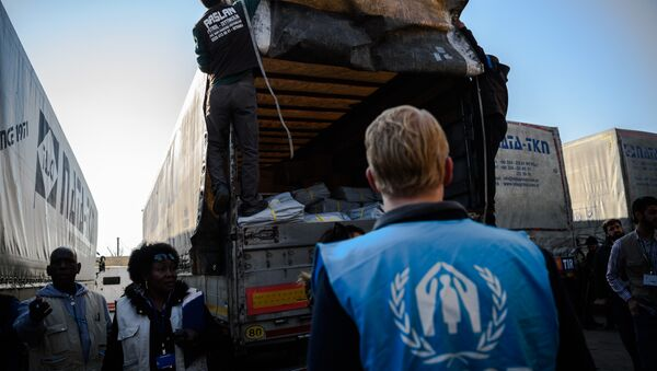 A UNHCR worker stands as workers carry humanitarian aid to a Syrian-bound truck at a UN transhipment hub at Cilvegozu in Reyhanli near the Turkish-Syrian border in Hatay on November 28, 2016 - Sputnik International