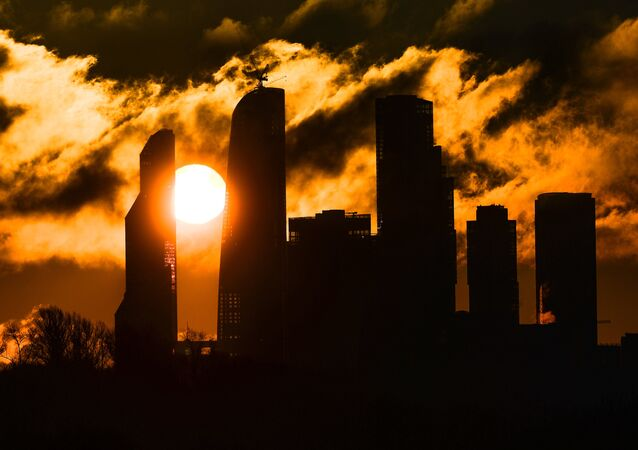Sunrise over the Moscow City district