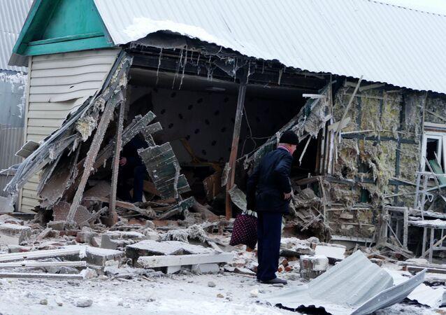 Aftermath of Debaltseve shelling in Donetsk Region