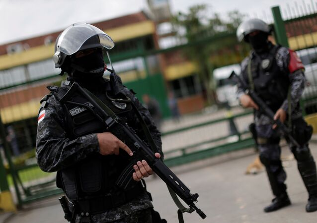 Soldiers of the military police are seen during a security operation outside of Puraquequara prison in Manaus after some prisoners were relocated following a deadly revolt, January 5, 2017