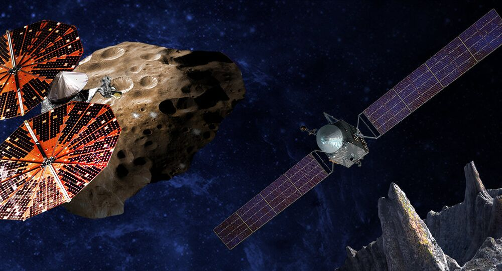 An artist's conception of the Lucy spacecraft flying by the Trojan Eurybates – one of the six diverse and scientifically important Trojans to be studied. Trojans are fossils of planet formation and so will supply important clues to the earliest history of the solar system. (Right) Psyche, the first mission to the metal world 16 Psyche will map features, structure, composition, and magnetic field, and examine a landscape unlike anything explored before. Psyche will teach us about the hidden cores of the Earth, Mars, Mercury and Venus.