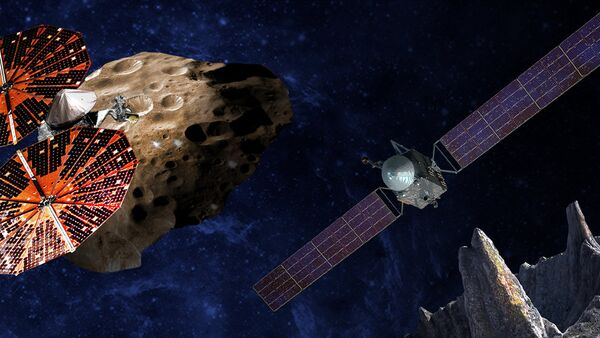 An artist's conception of the Lucy spacecraft flying by the Trojan Eurybates – one of the six diverse and scientifically important Trojans to be studied. Trojans are fossils of planet formation and so will supply important clues to the earliest history of the solar system. (Right) Psyche, the first mission to the metal world 16 Psyche will map features, structure, composition, and magnetic field, and examine a landscape unlike anything explored before. Psyche will teach us about the hidden cores of the Earth, Mars, Mercury and Venus. - Sputnik International