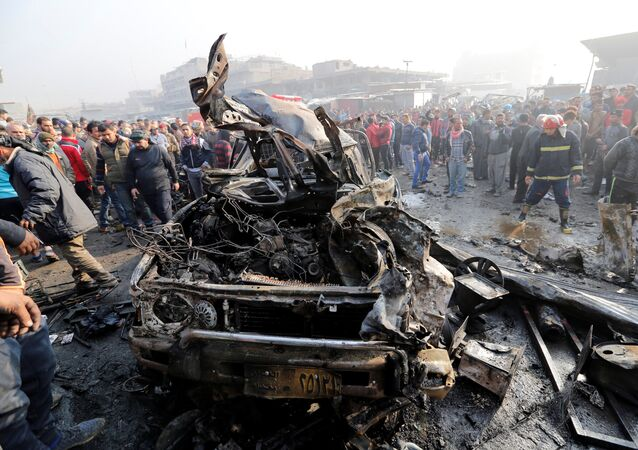 Wreckage is seen at the site of a car bomb attack at a vegetable market in eastern Baghdad, Iraq January 8, 2017.