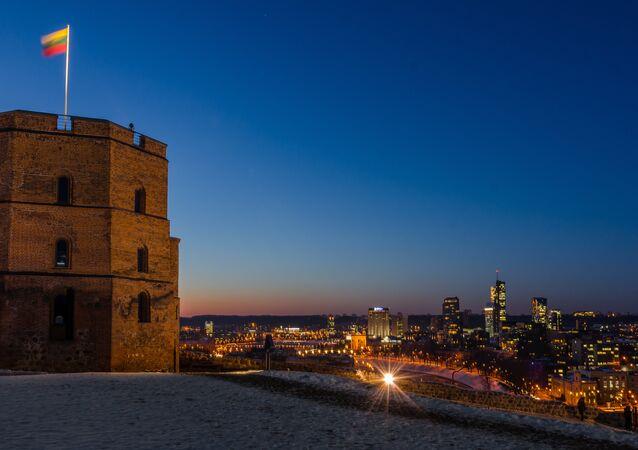 Vilnius castle tower at night. (File)