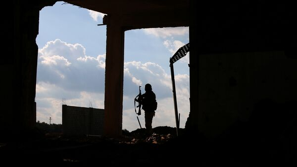 A Free Syrian Army fighter carries his weapon as he stands on a damaged building, in the east of the rebel-held town of Dael, in Deraa Governorate, Syria January 3, 2017. - Sputnik International