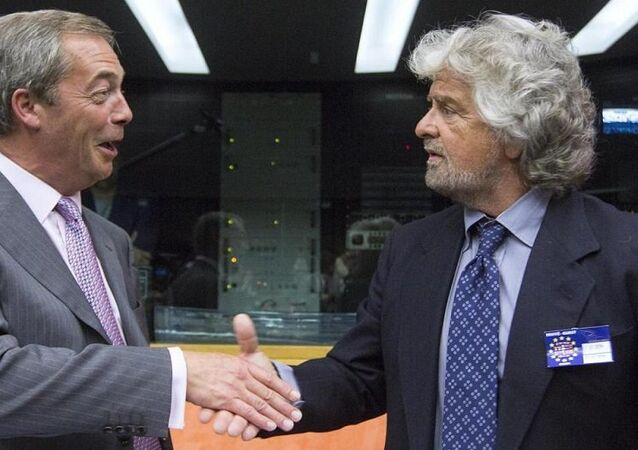 President of the EFDD Group, Nigel Farage greets Beppe Grillo, leader of Italy's 5 Star Movement