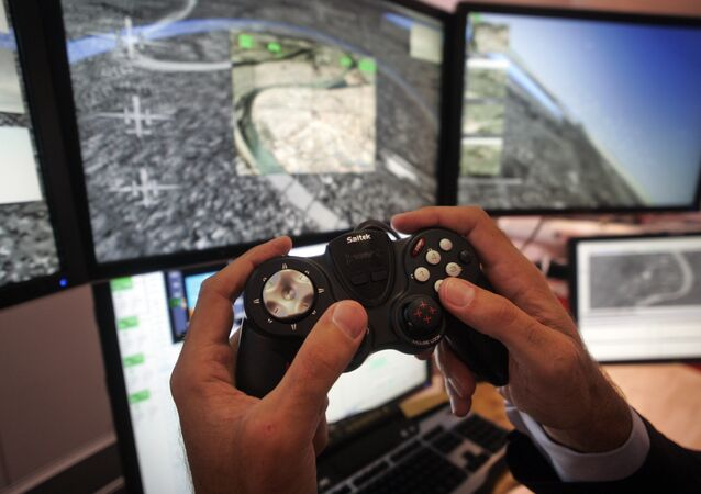 A control system for unmanned drones, at the Farnborough aerospace show
