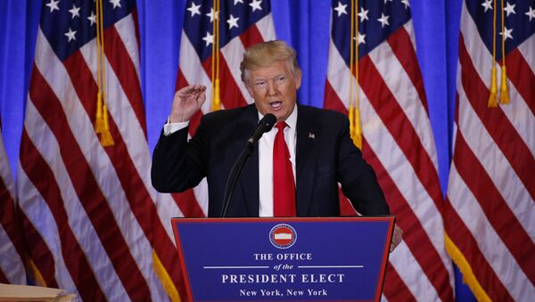 U.S. President-elect Donald Trump speaks during a news conference in the lobby of Trump Tower in Manhattan, New York City, U.S., January 11, 2017 - Sputnik International