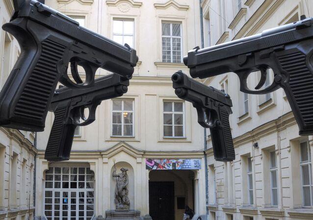 David Cerny's Guns installation at the Artbanka Museum of Young Art, Prague, Czech Republic