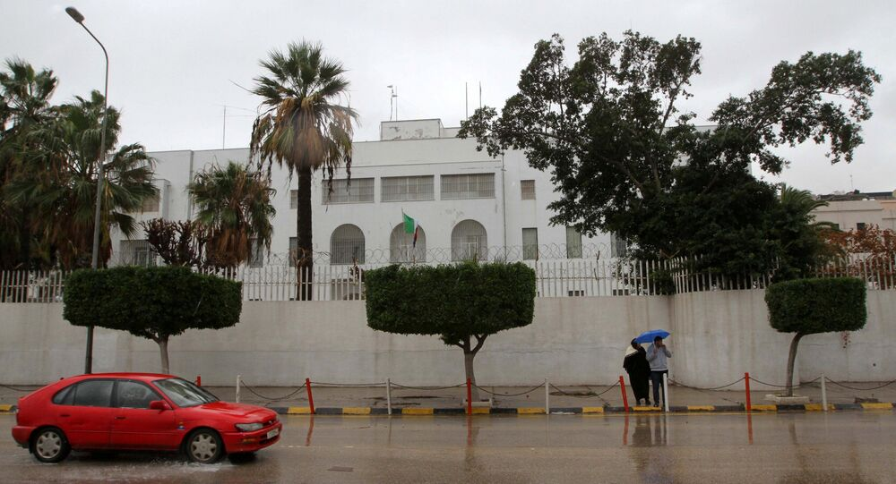 A car drives past the Italian embassy in Tripoli, Libya January 10, 2017