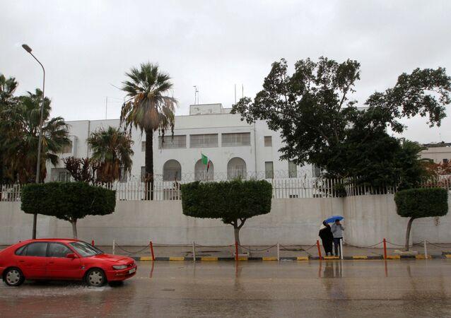 A car drives past the Italian embassy in Tripoli, Libya January 10, 2017