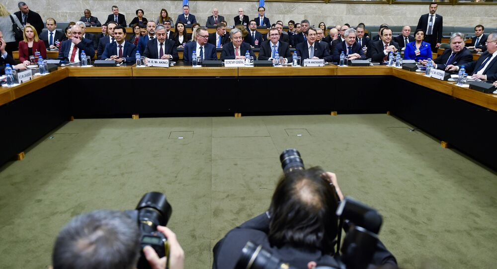 Turkish Cypriot leader Mustafa Akinci, UN Secretary-General Antonio Guterres and Cypriot President Nicos Anastasiades attend the Cyprus reunification talks at the United Nations in Geneva, Switzerland, January 12, 2017.