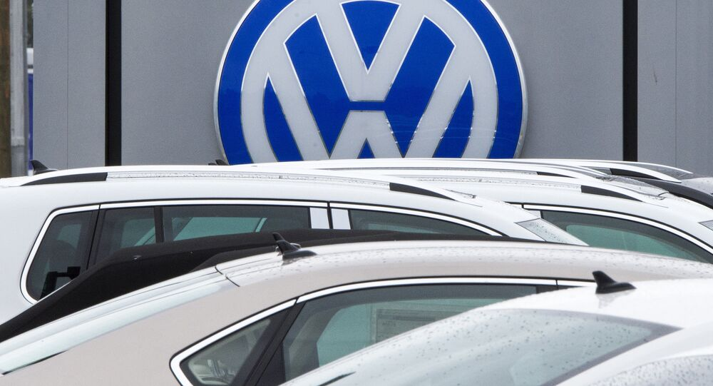 This file photo taken on September 29, 2015 shows the logo of German car maker Volkswagen seen at a northern Virginia dealer in Woodbridge, Virginia