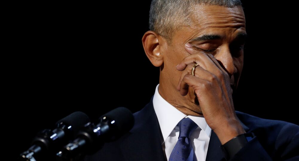 President Barack Obama wipes away tears as he delivers his farewell address in Chicago, Illinois.