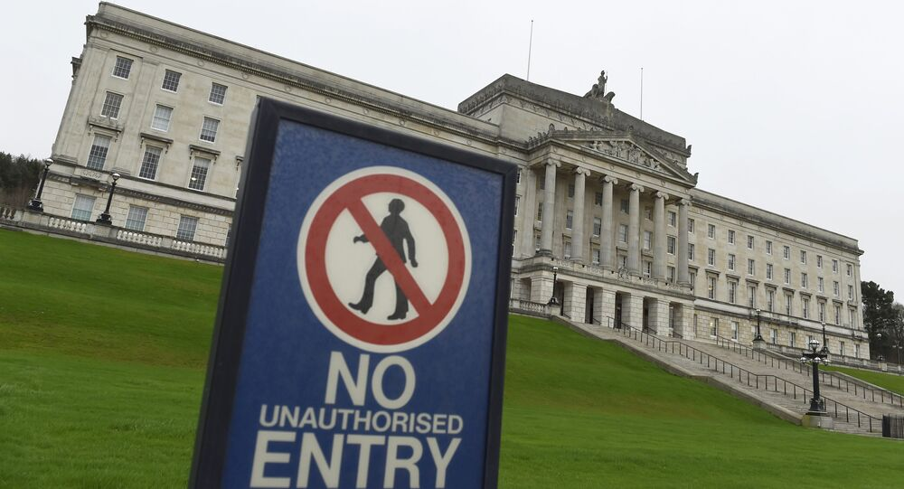 The Parliament Buildings at Stormont are seen behind a no entry sign, a day after deputy first minister Martin McGuinness resigned, throwing the devolved joint administration into crisis, in Belfast Northern Ireland, January 10, 2017.