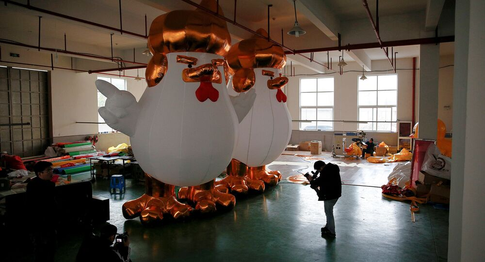 20-Meter Tall Inflatable Trump Rooster New Hit in China