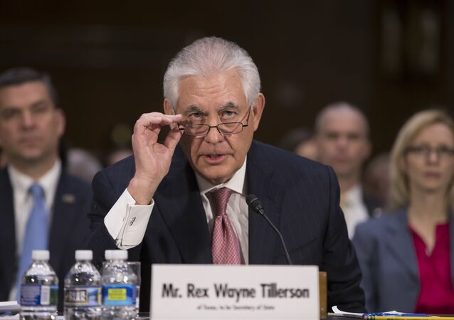 Secretary of State-designate Rex Tillerson testifies on Capitol Hill in Washington, Wednesday, Jan. 11, 2017, at his confirmation hearing before the Senate Foreign Relations Committee