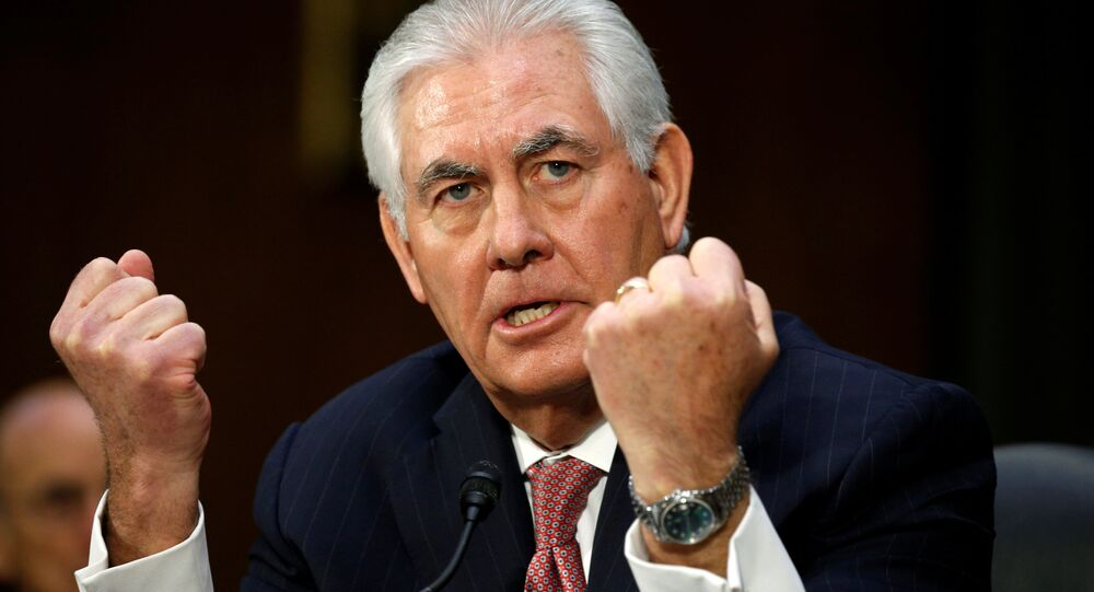 Rex Tillerson testifies during a confirmation hearing (File)