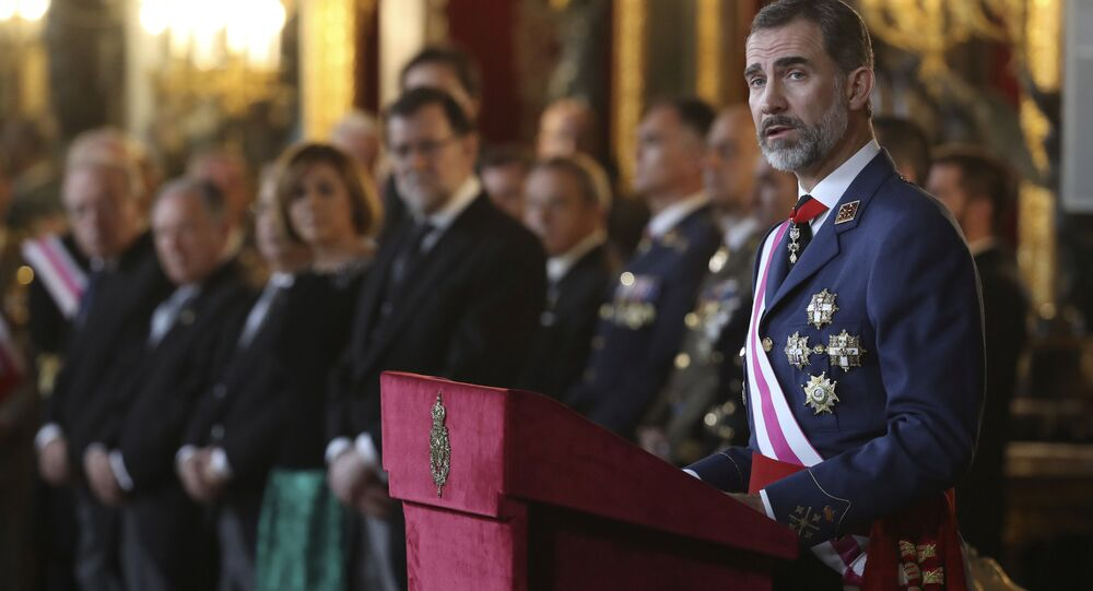 Spain's King Felipe VI gives a speech during Epiphany Day celebrations at the Royal Palace in Madrid, Spain, January 6, 2017.