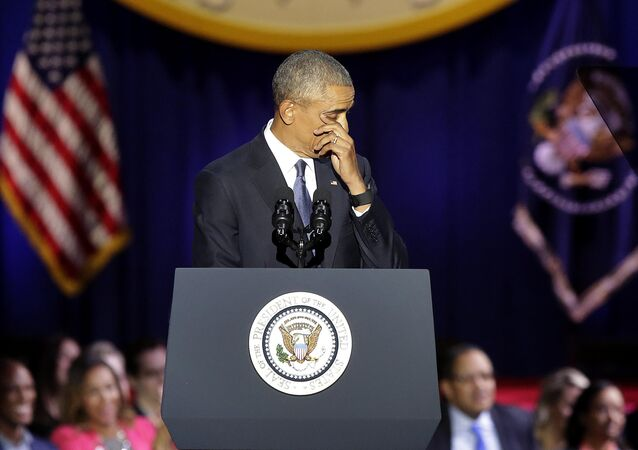 US President Barack Obama cries as he speaks during his farewell address in Chicago, Illinois on January 10, 2017