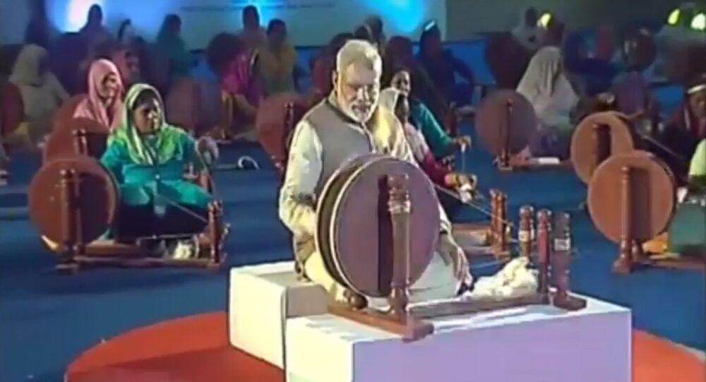 Modi with Spinning Wheel