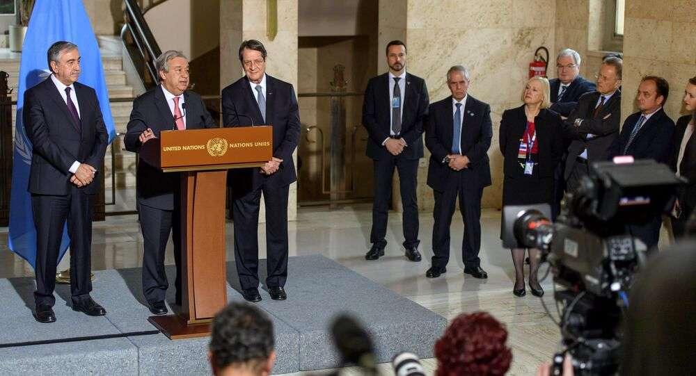 United Nations Secretary General Antonio Guterres speaks with Greek Cypriot President Nicos Anastasiades and Turkish Cypriot leader Mustafa Akinci, at a news conference after the Conference on Cyprus Peace Talks, at the European headquarters of the United Nations in Geneva, Switzerland, January 12, 2017