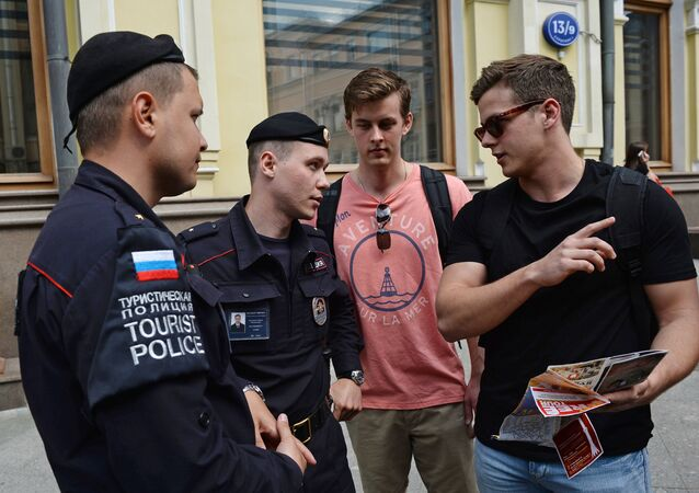 Tourist police on patrol in Moscow pedestrian zones.