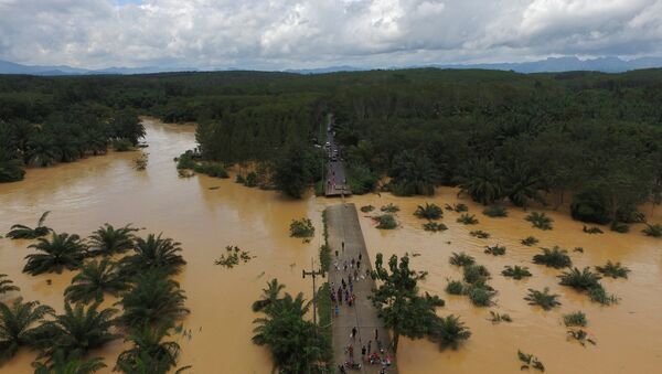 A bridge damaged by floods is pictured at Chai Buri District, Surat Thani province, southern Thailand, January 9, 2017. Picture taken January 9, 2017. - Sputnik International