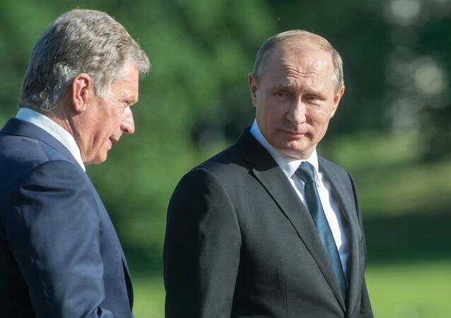 July 1, 2016. President Vladimir Putin (right) and President of the Republic of Finland Sauli Niinisto before a joint news conference following their meeting in Naantali.
