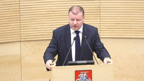 Lithuanian new Prime Minister Saulius Skvernelis speaks during a session of the Seimas of the Republic of Lithuania, in Vilnius - Sputnik International