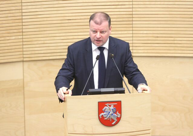 Lithuanian new Prime Minister Saulius Skvernelis speaks during a session of the Seimas of the Republic of Lithuania, in Vilnius