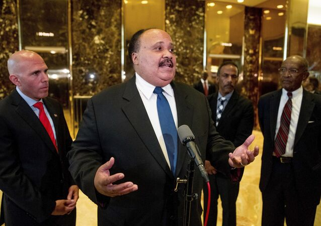 Martin Luther King III, son of Martin Luther King Jr. speaks to members of the media following a meeting with President-elect Donald Trump at Trump Tower in New York, Monday, Jan. 16, 2017.