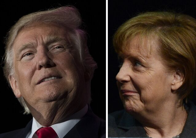 This combination of file photos created on January 16, 2017 shows US President-elect Donald Trump (December 16, 2016 in Orlando, Florida) and German Chancellor Angela Merkel (R, March 9, 2014 in Hanover).