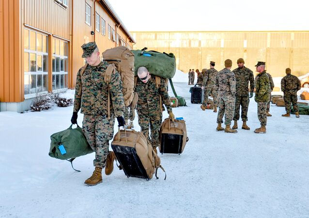 U.S. Marines, who are to attend a six-month training to learn about winter warfare, arrive in Stjordal, Norway January 16, 2017.