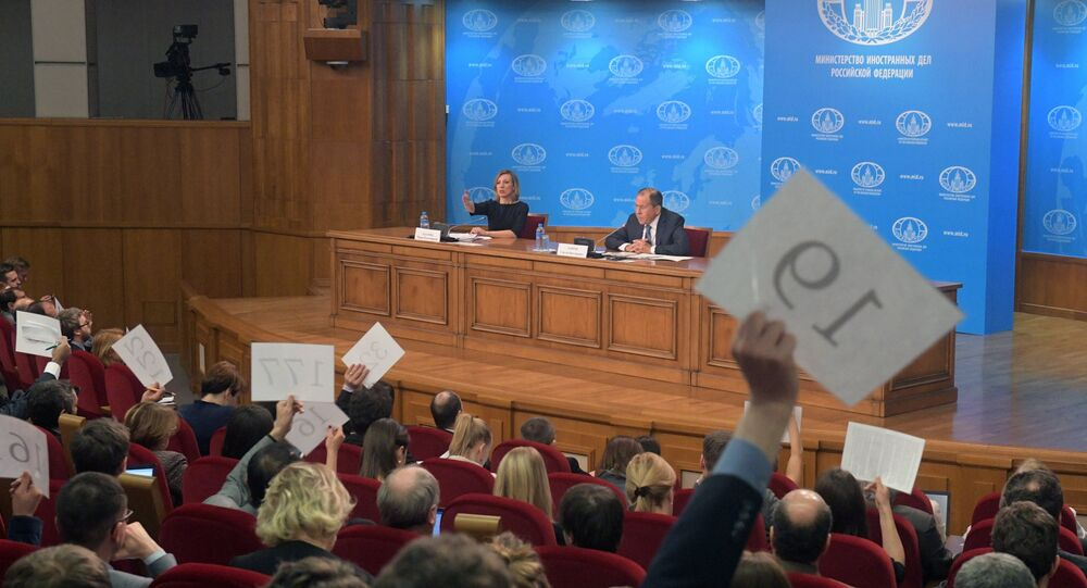 News conference with Russian Foreign Minister Sergei Lavrov evaluating the 2016 performance of Russian diplomacy. Left: Russian Foreign Ministry Spokesperson Maria Zakharova