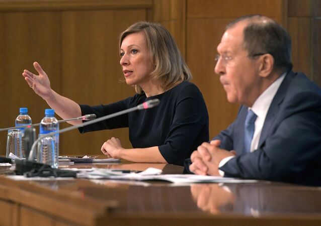 Russian Foreign Ministry Spokesperson Maria Zakharova at a news conference with Russian Foreign Minister Sergei Lavrov evaluating the 2016 performance of Russian diplomacy