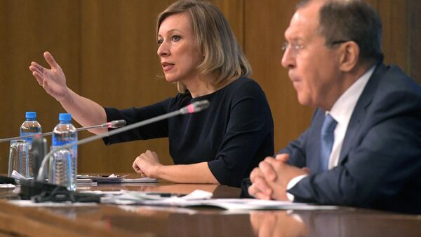 Russian Foreign Ministry Spokesperson Maria Zakharova at a news conference with Russian Foreign Minister Sergei Lavrov evaluating the 2016 performance of Russian diplomacy - Sputnik International
