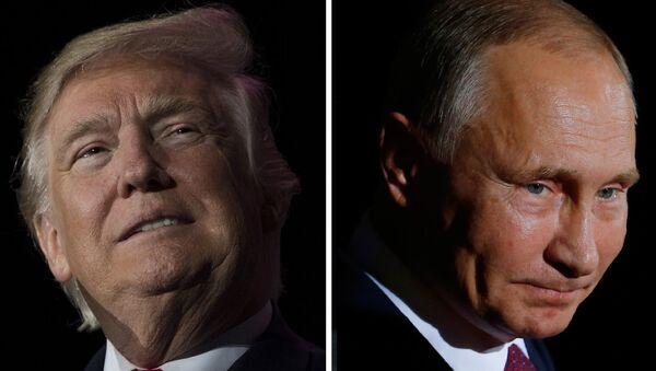 US President-elect Donald Trump (December 16, 2016 in Orlando, Florida) and Russian President Vladimir Putin (October 19, 2016 in Berlin) - Sputnik International