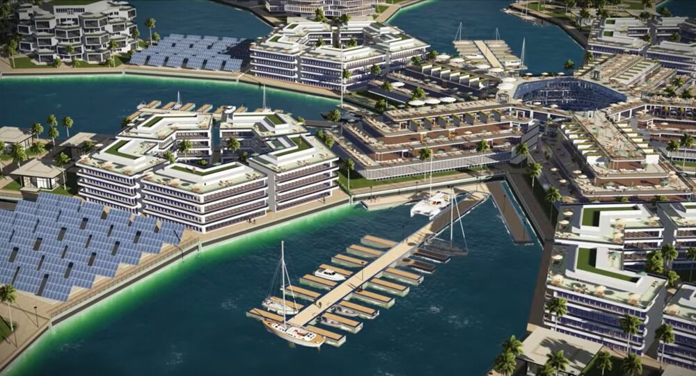 Digital Rendering of Floating City concept in French Polynesia