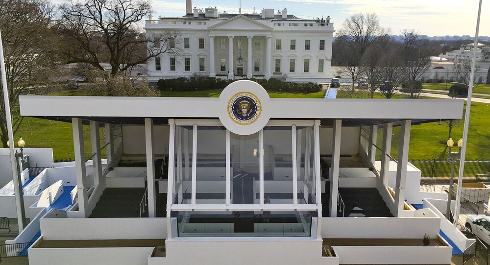 Reviewing stand on Pennsylvania Avenue in front of the White House for 2017 Presidential inauguration.