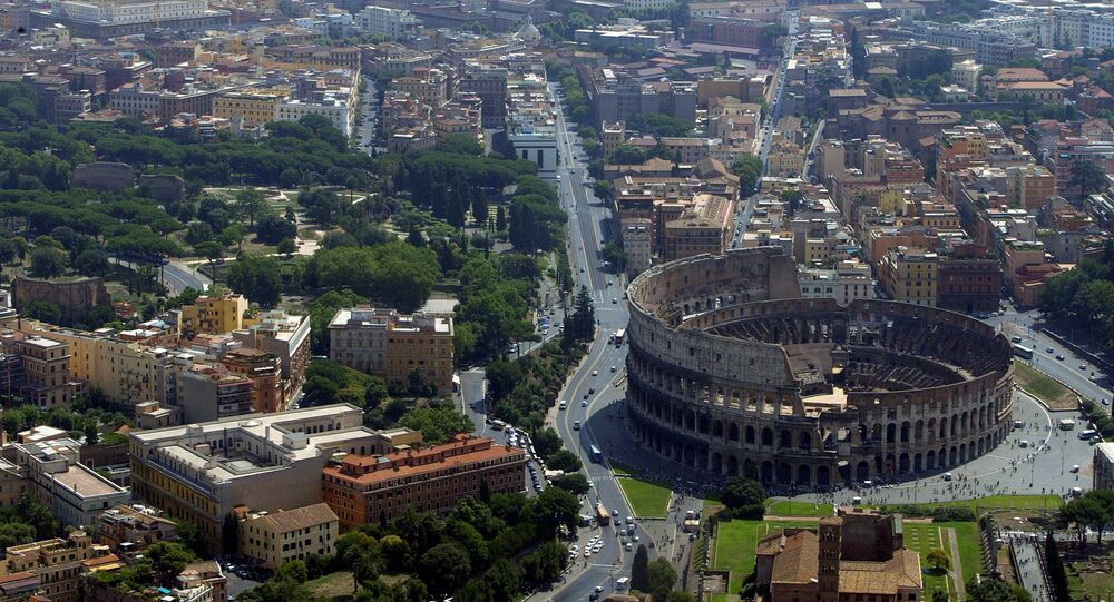 An aerial view of the Colosseum in Rome