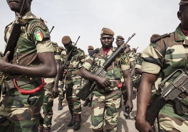 Senegal soldiers take part in the opening ceremony of Flintlock, anti-terrorism training in Thies, Senegal, Monday, Feb. 8, 2016