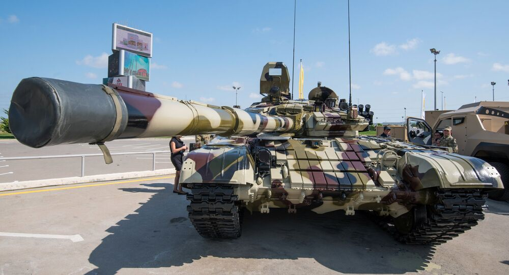 A modified T-72 tank displayed at the ADEX 2016 Azerbaijan International Defense Industry Exhibition in Baku