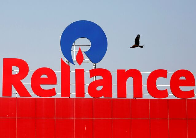 A bird flies past a Reliance Industries logo installed on its mart in Ahmedabad, India January 16, 2017